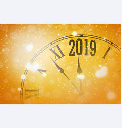 2019 new year shining banner with clock vector image