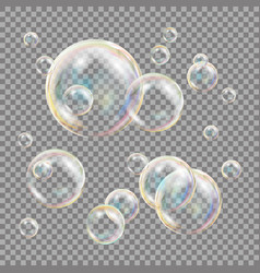 3d soap bubbles transparent sphere ball vector image vector image