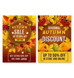 autumn sale online discount poster vector image