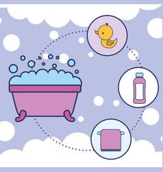 Bathtub rubber duck shampoo and towel bathroom vector