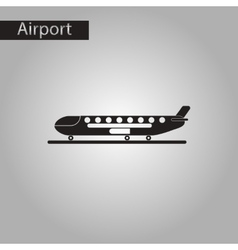 black and white style icon airplane airport vector image