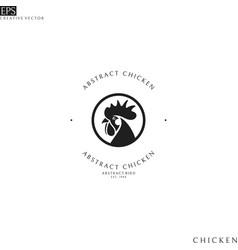 Black chicken logo template vector
