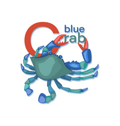 Blue crab sea crab with letters seafood vector