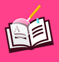 book icon with magnifying glass on pink vector image