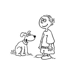Boy with dog outlined cartoon handrawn sketch vector