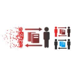 broken dot halftone persons books exchange icon vector image
