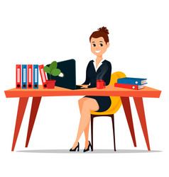 business woman sitting at the table cute cartoon vector image vector image