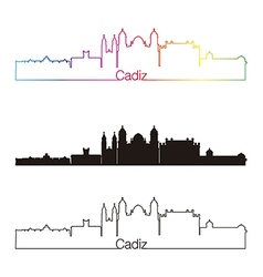 Cadiz skyline linear style with rainbow vector image