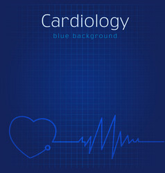 Cardiology blue background vector