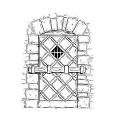 Cartoon drawing of wooden medieval door closed by vector
