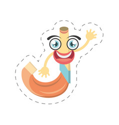 Cartoon horn party celebration cut line vector