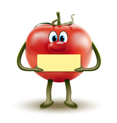 Cartoon red tomato clipart with a sign in hands vector