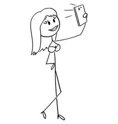 Cartoon sexy beautiful woman taking selfie vector