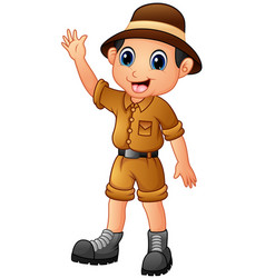 Cartoon zoo keeper man waving hand vector