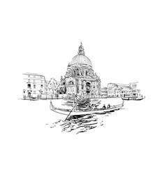 cathedral santa maria della salute grand canal vector image