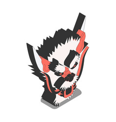 chinese devil isometric composition vector image
