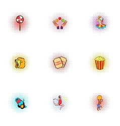 Circus chapiteau icons set pop-art style vector image