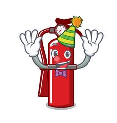 Clown fire extinguisher mascot cartoon vector