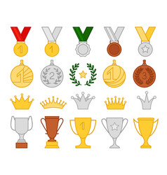 Collection golden goblet and medal flat style vector