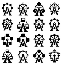 collection park ferris wheel icons vector image