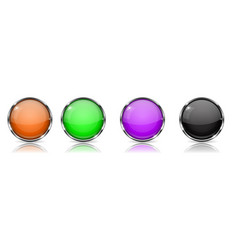 Colored glass 3d buttons with chrome frame round vector