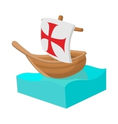 Columbus ship icon in cartoon style vector image