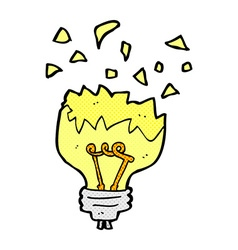 Comic cartoon light bulb exploding vector