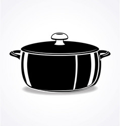 Crock pot roast cooker with lid black and white vector