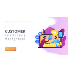 Customer relationship management concept landing vector