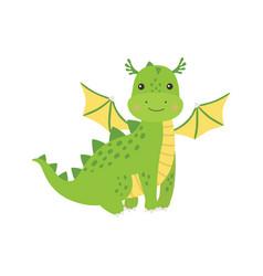 Cute cartoon green little dragon isolated vector