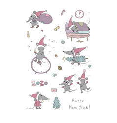 cute cartoon rats greeting card chinese zodiac vector image