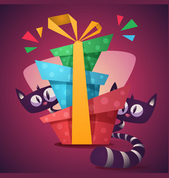 cute kitty characters with color gift vector image