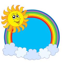 cute sun and rainbow vector image