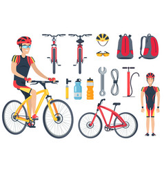 Cyclist and bicycle tools set vector