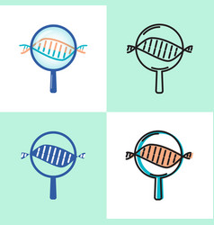 dna spiral research icon set in flat and line vector image