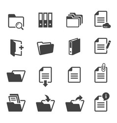 documents and folders black and white glyph icons vector image