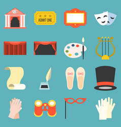 drama opera icons set flat design vector image