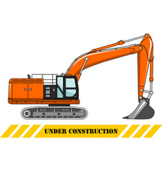excavator heavy construction machine vector image