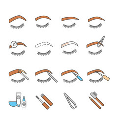 eyebrows shaping color icons set vector image