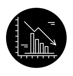 falling markets black icon sign on vector image