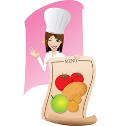 Female chef is showing the menu vector