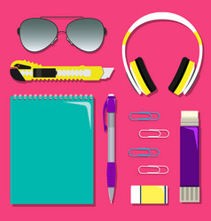 Flat school set of stationery on the table vector