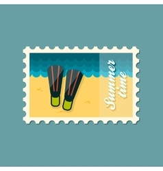 Flippers flat stamp summertime vector image