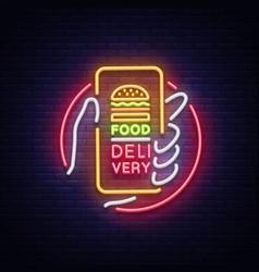 food delivery neon sign smartphone in hands vector image