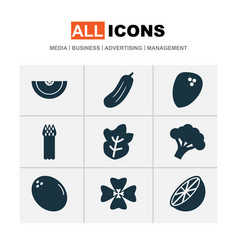 Food icons set with virgin asparagus cantaloupe vector