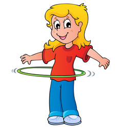 Girl exercise with hula hoop vector