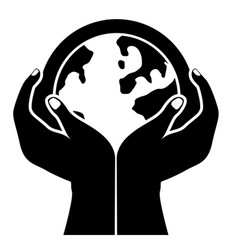 globe in a hands vector image