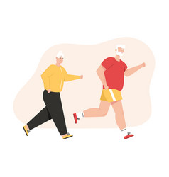 Grandfather and grandmother jogging together vector