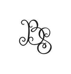 Handwritten monogram bs icon vector