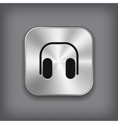 Headphones icon - metal app button vector image